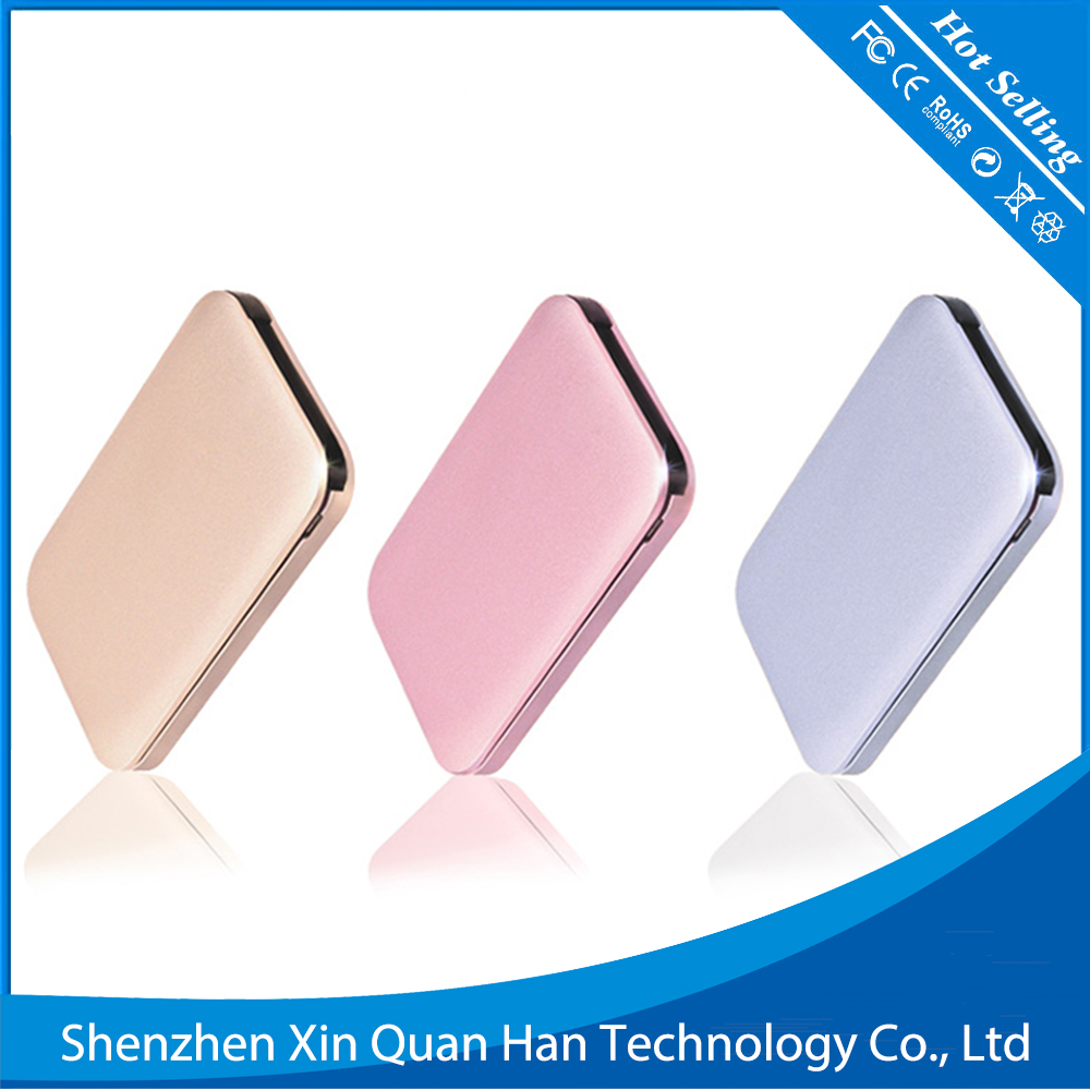 new trend Metal alloy Super slim mobile phone charger power bank 6000mah