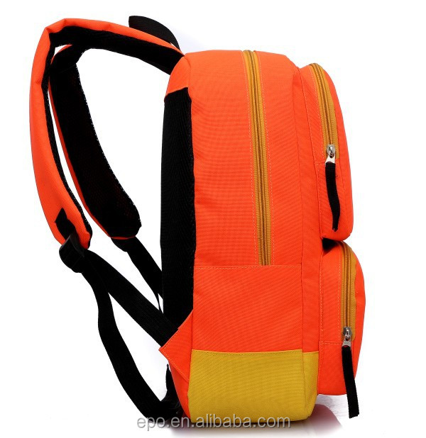 Orange school polyester backpack, monkking backpack for teens