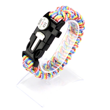 fishbone survival bracelet with handmade braiding paracord SOS LED light for hiking outdoor