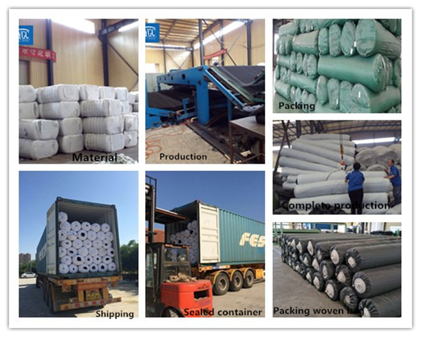 High tensile strength needle punched non woven geotextile for road construction 100~800gsm