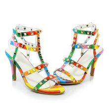 2017 Latest Fashion Girls Summer Sandals Studs Rivets Colorful Cross Straps Ladies High Heel Fancy Sandals For Women