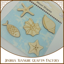 Sea theme conch shell fish star wooden craft shapes art minds diy mdf wooden craft shapes