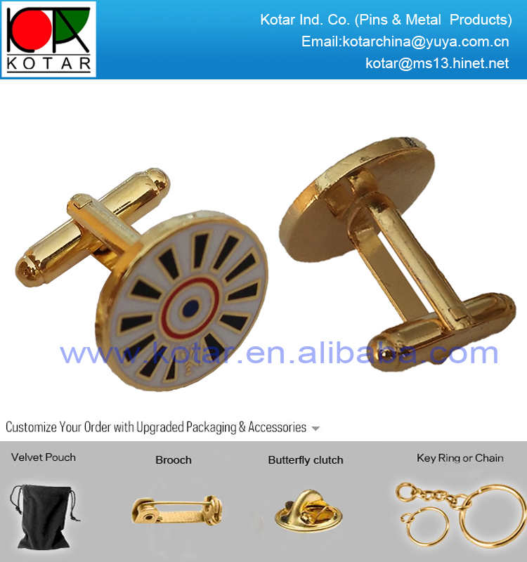 Custom fashion gold finish metal cufflink