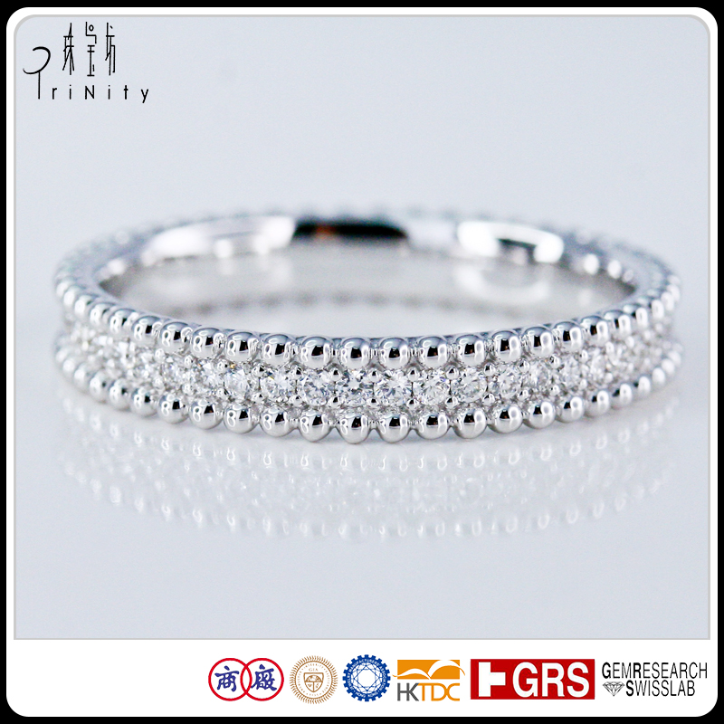 Solid 18k White Gold Real Diamond Stacking Milgrain Eternity Ring Matching Band Antique Vintage Style Pure Solid Gold Jewelry