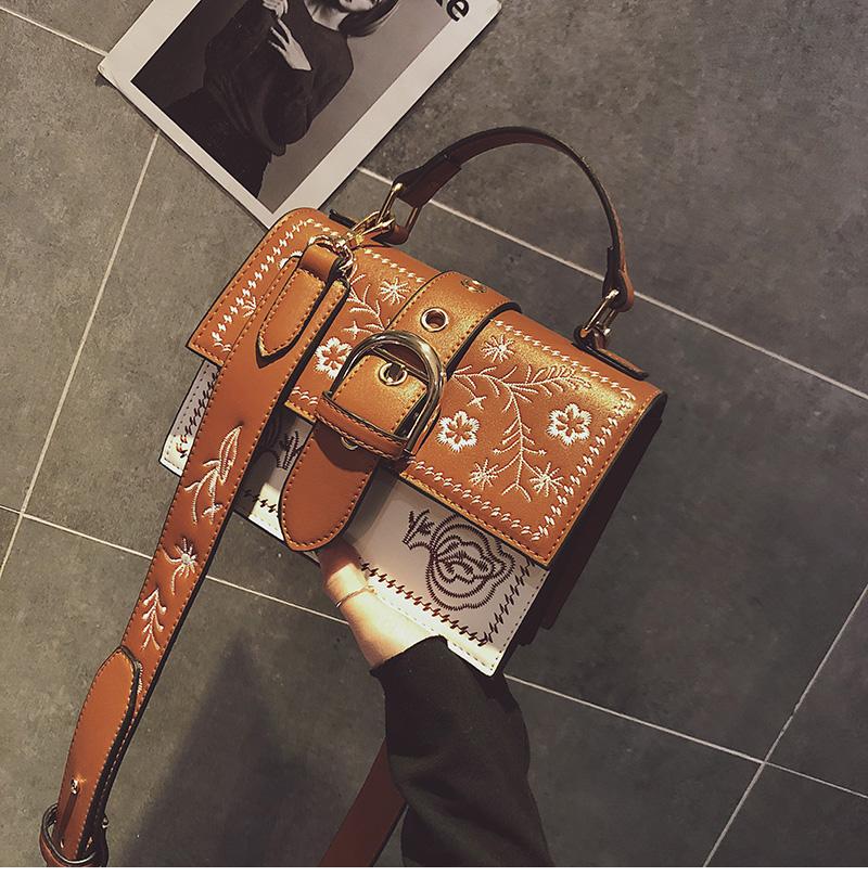 Toposhine Fashion Women Bag Panelled Vintage Flower Girls Bags for Girls Black PU Leather Women Messenger Bags Drop Shipping 6