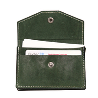 Bussiness green card holder with leather belt clip card clip button card case