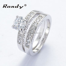Wholesale Rhodium Plated AAA Cubic Zirconia Engagement Ring