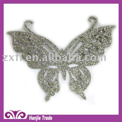 Wholesale rhinestone flower pattern hot fix motif with Glitter Fabric in Butterfly Design For T Shirt
