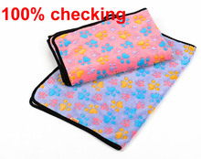 Dog Cat Puppy Kitten Soft Coral Velvet Blanket Doggy Warm Bed Mat Paw Print Cushion