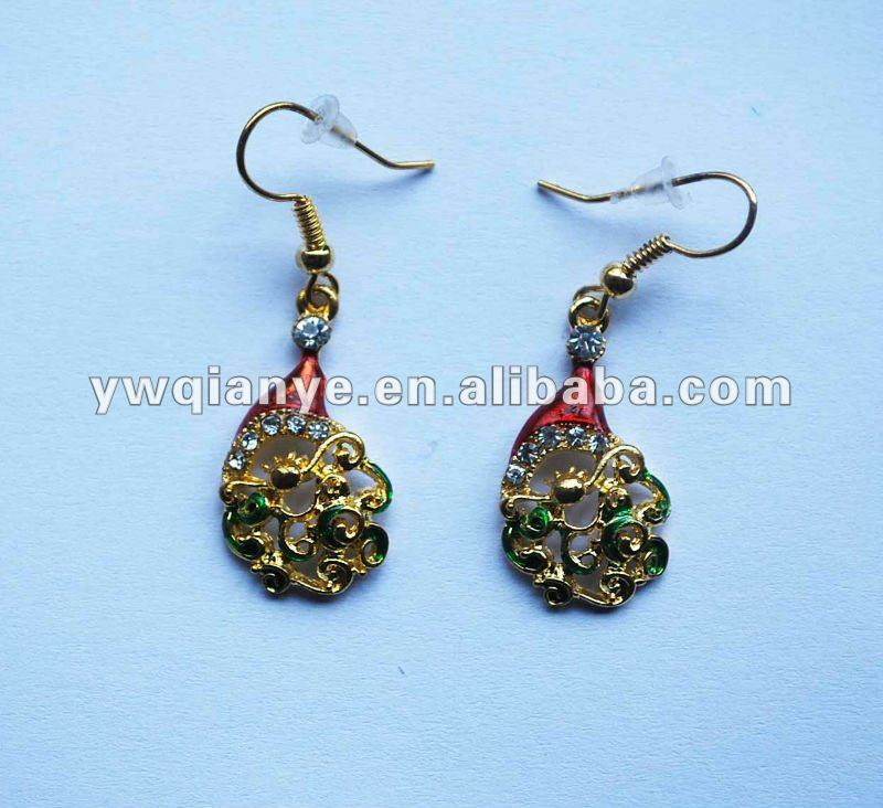 christmas earring with rhinestone