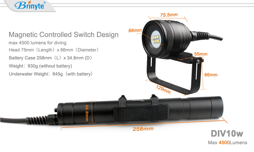High Power IP68 Cave Diving Flashlight Led Underwater Dive Video Light