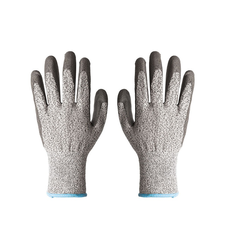 13G grey HPPE liner cut 5 PU coated industrial safety hand <strong>gloves</strong>