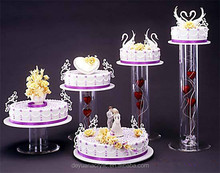 Wedding 5 tier cake stand with acrylic tube center with simple style