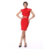 Sexy Women OL Ruffles Neckline Sleeveless Red Dress Design