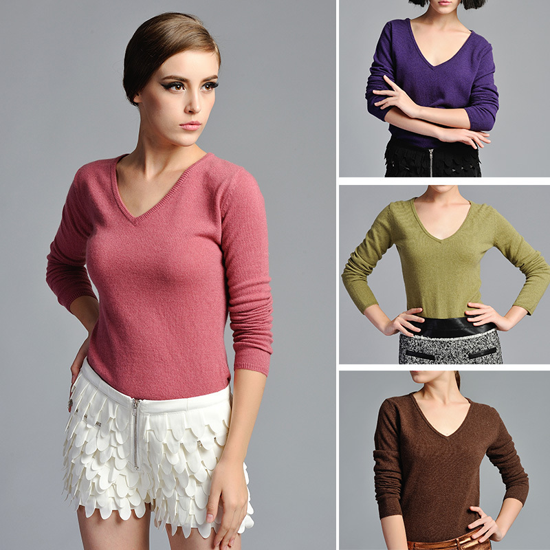0210 Guaranteed 100% cashmere 2013 HOT SALE Women Fashion Pullover V-Neck Sweater