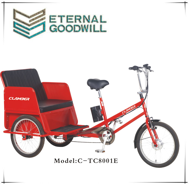 E trikes 6speeds pedicab open taxi rickshaw/bicycle pedicab/electric passenger pedicab tricycle TC8001E pedal assist