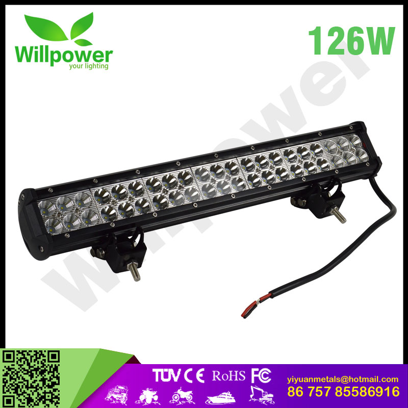 "Led lightbar 20""inch 126W ce rohs led light bar 20""inch battery powered led truck warning lights for atv work light"