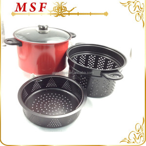 MSF-6427 carbon steel pasta pot with strainer pasta steamer set heat resistant painting on body non stick coating in pasta