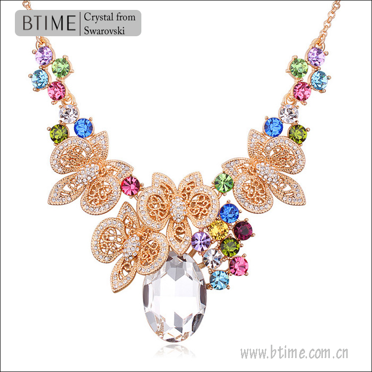 Bridal necklace/crystal necklace/flower shaped wedding jewelry