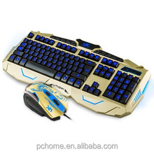 2015 fashion/waterproof Gaming Keyboard with LED Letter Wired Keyboard and Mouse Combo Set Golden + Bluefinger Customed Gami