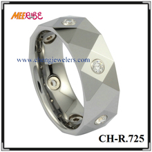 fashion jewelry faceted surface diamond tungsten rings for men