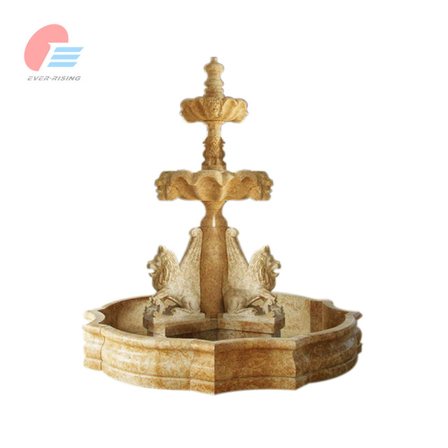 China Classic Cream Beige Large Garden Marble Water Fountain