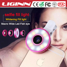 External camera for mobile phone Wide angle Macro Fisheye lens Mini Flash Led Camera Selfie Fill Light For android mobile phone