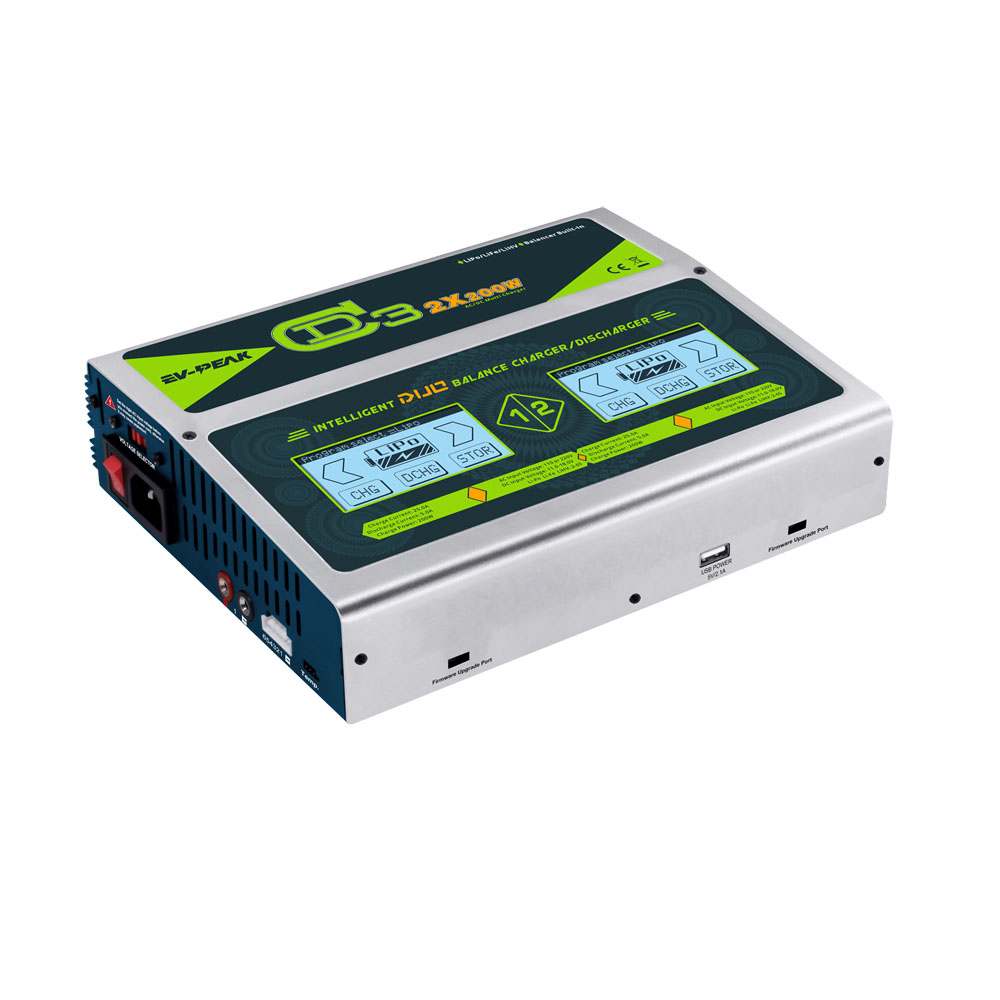 EV-PEAK 2017 new product 400w 25A dual RC lipo battery chargers with two touch screens