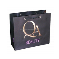 logo embossed custom shopping paper bag with cotton handle