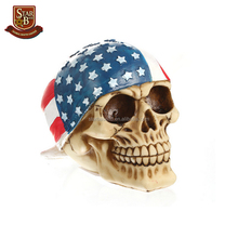 New model craftmanship resin skull with American flag head for halloween gift
