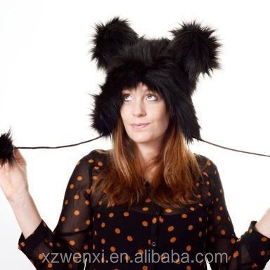 AliExpress hot sale Christmas cute animal cap faux fur hat for woman