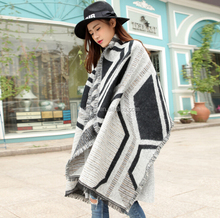 Women's Super Soft Luxurious Cashmere Feel Winter Scarf Warm Striped Knit Shawl
