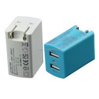 Dual 2.4 A travel charger adapter 2 port micro usb wall charger with fold plug