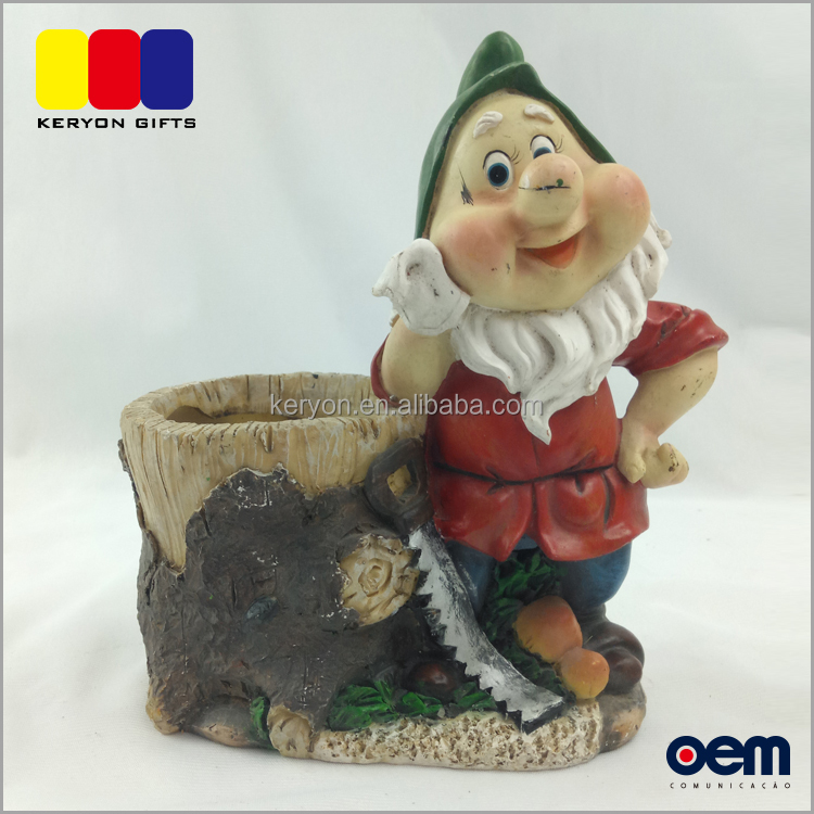 Wholesale Poly resin Flower Pots,Garden Gnome Planter for Garden Decoration