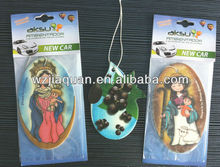 Cartoon hanging paper air freshener with customized