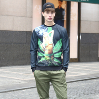 Factory direct custom printed mens pullover sweatshirt without hood