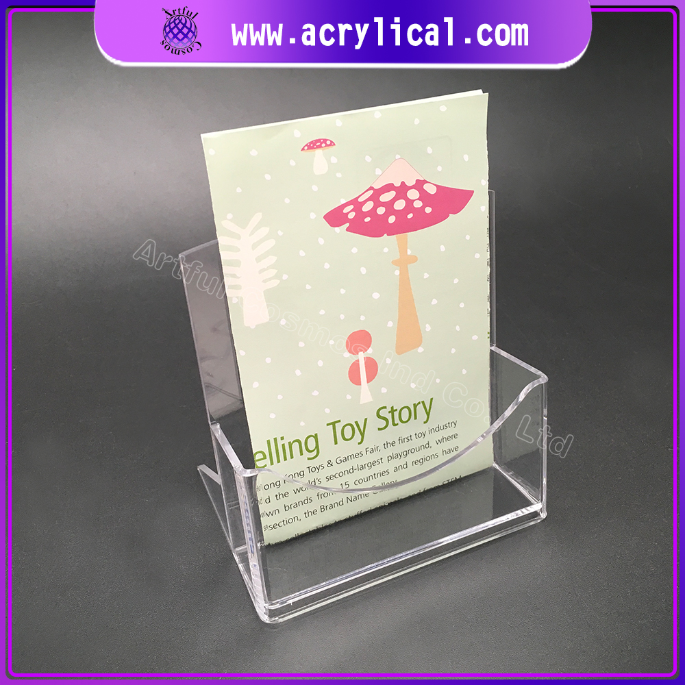 New product 2017 Slanted back clear brochure display stand/ customize acrylic magazine holder
