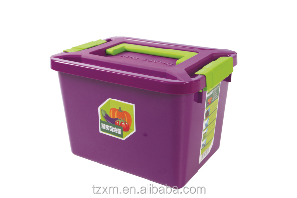 plastic big size kitchen handle storage container with dividers lock lid