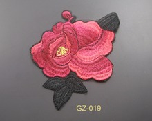 wholesale custom logo design applique embroidery flower patches for cloth patch