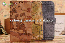 New Arrival,Archaistic Map Cell Phone Cover,Flip PU Cover for Samsung Galaxy S4