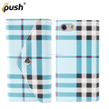 PU leather flip wallet cover stripe design card slot and sling hole TPU case for iPhone 6