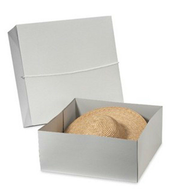 Reusable custom logo printed square bottom corrugated paper hat gift boxes  with top