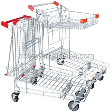 high quality folding reinforced double truck/warehouse cart trolley with best price