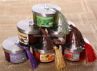 cheapest multi-color candle with tassels /100% soy wax scent candle for wedding,party,decorate and celebrate