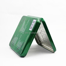 Gold supplier sell OEM square hinged lid flat tin box