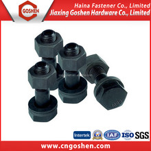 black oxidation carbon steel round head bolt with nut and washer