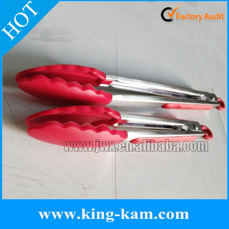 Red self-locking silicone food tong 2 pack