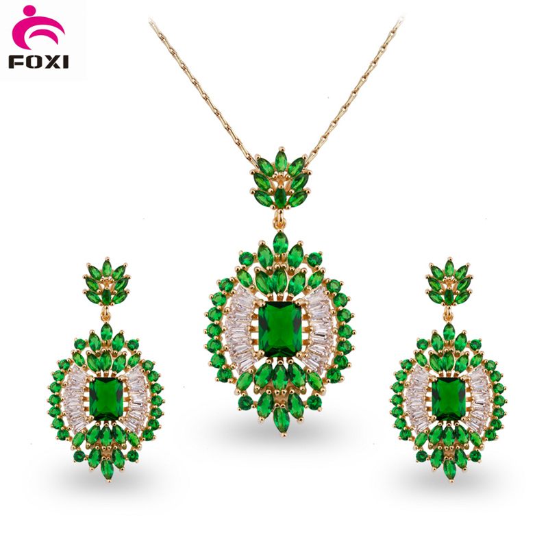 Wholesale Yellow Gold Plated Copper Bridal Cubic Zirconia Stone Jewelry Set