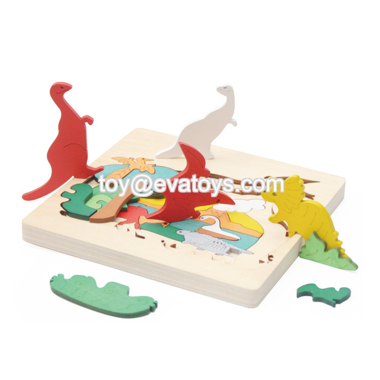 Natural Wood Toy Kids Educational 3D Wooden Puzzle With Fish Shape W14D029