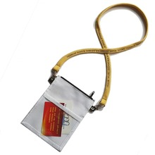 Reusable 600D nylon neck wallet pouches ID badge holders for exhibitions